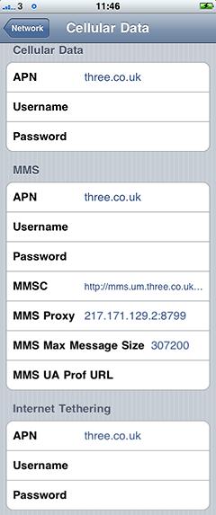 three iphone 3g, mms & tethering apn settings - greg's weblog